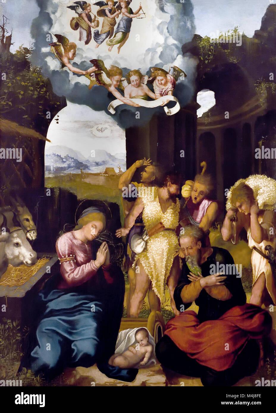 Adoration of the Shepherds by Pedro Machuca 1490-1550 16th,century,Spain, Spanish, - Stock Image
