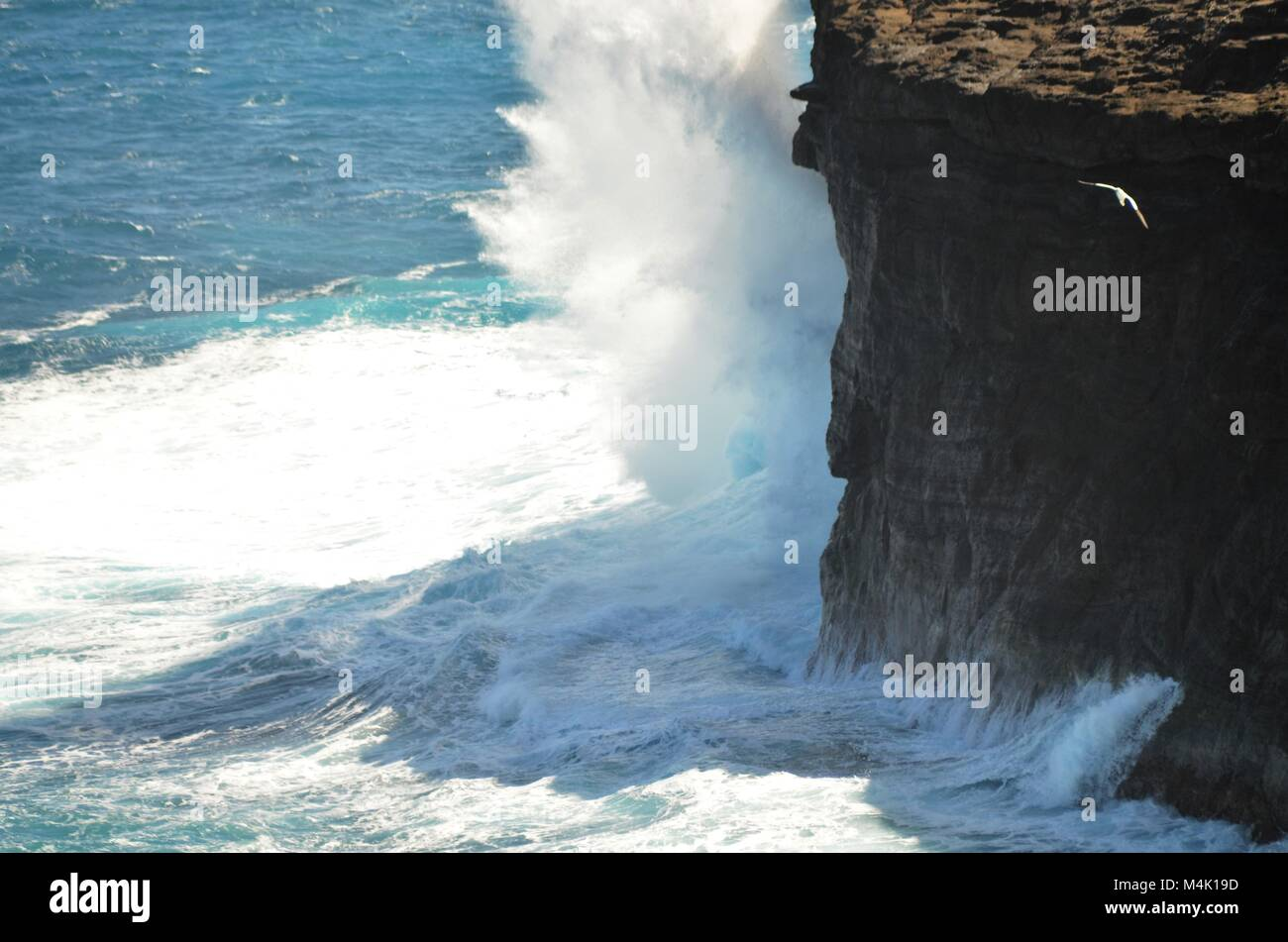 A rock cliff is being hit hard by the pounding forces of the sea, sending crashing waves up against the side of - Stock Image