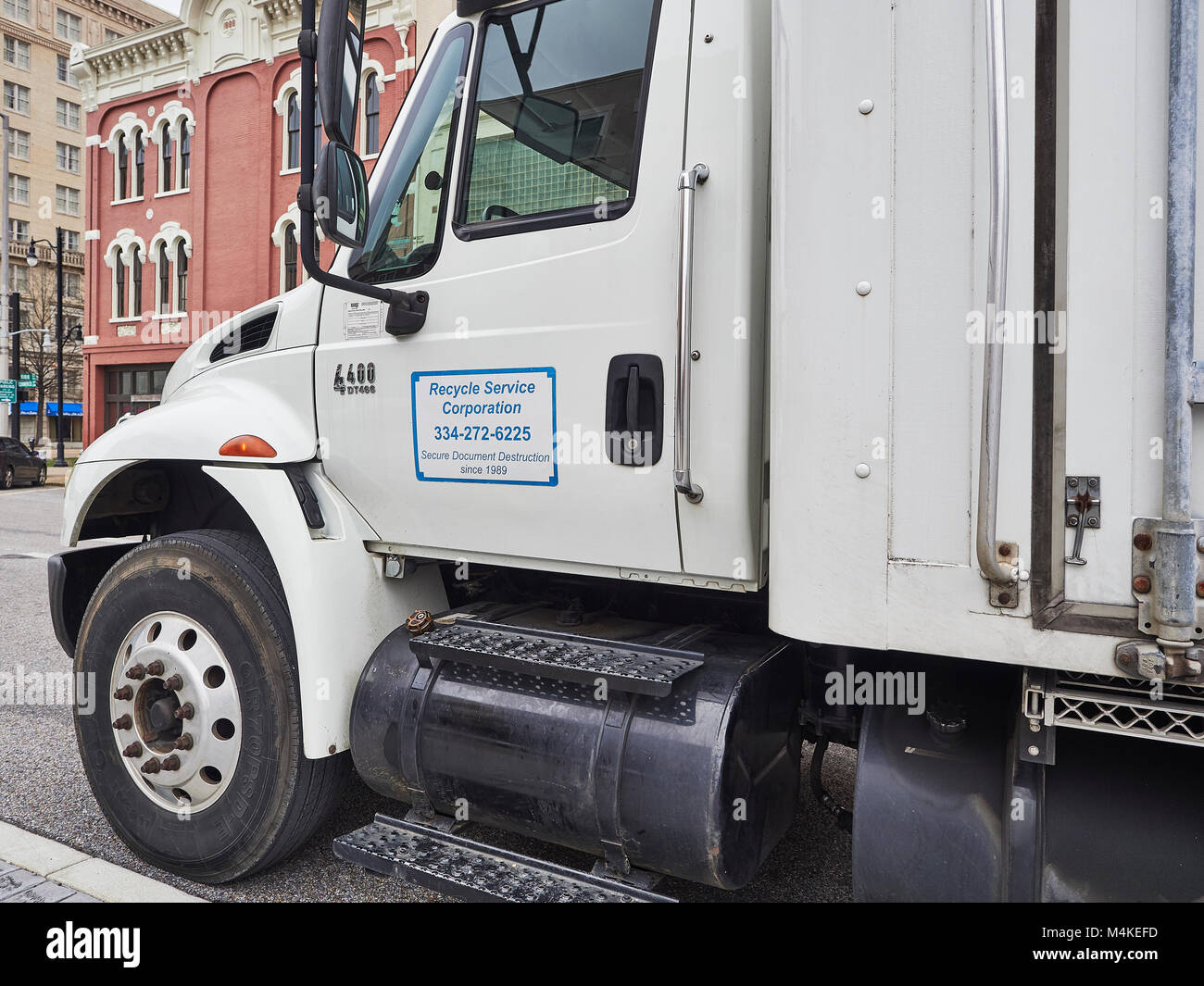 Parked mobile commercial document shredding truck for secure document destruction as a recycle service to businesses - Stock Image