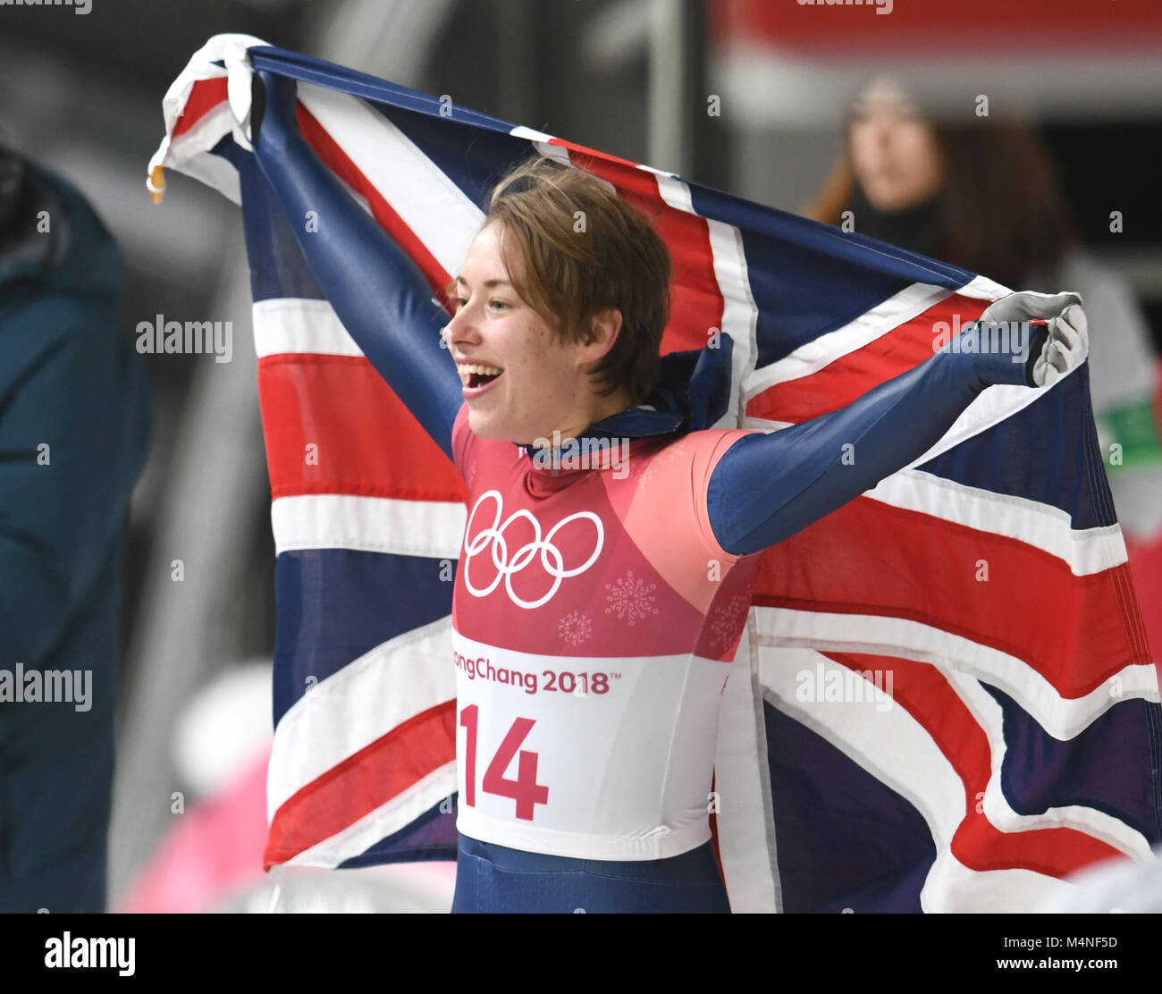 Pyeongchang, South Korea. 17th Feb, 2018. Lizzy Yarnold from the UK celebrating her gold medal at the finish line - Stock Image