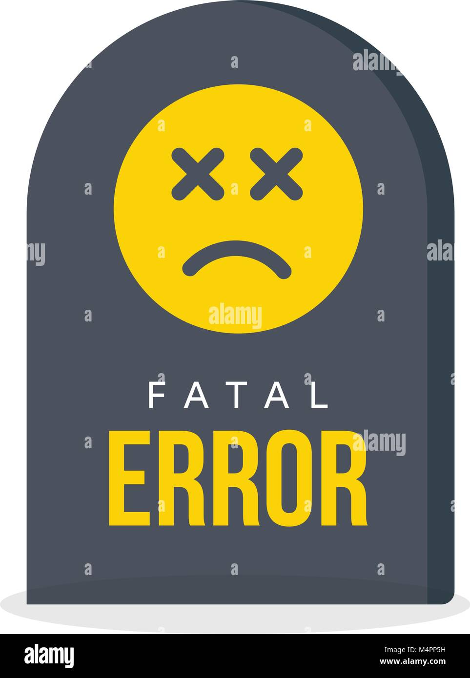 Fatal error message. Tombstone, warning information, computer fail icon. Web page crash funny symbol. - Stock Image
