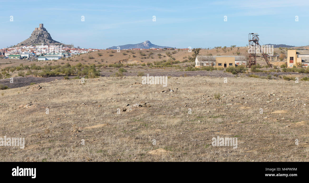 Outcrop rocky hill of Belmez Castle with old mining site - Stock Image