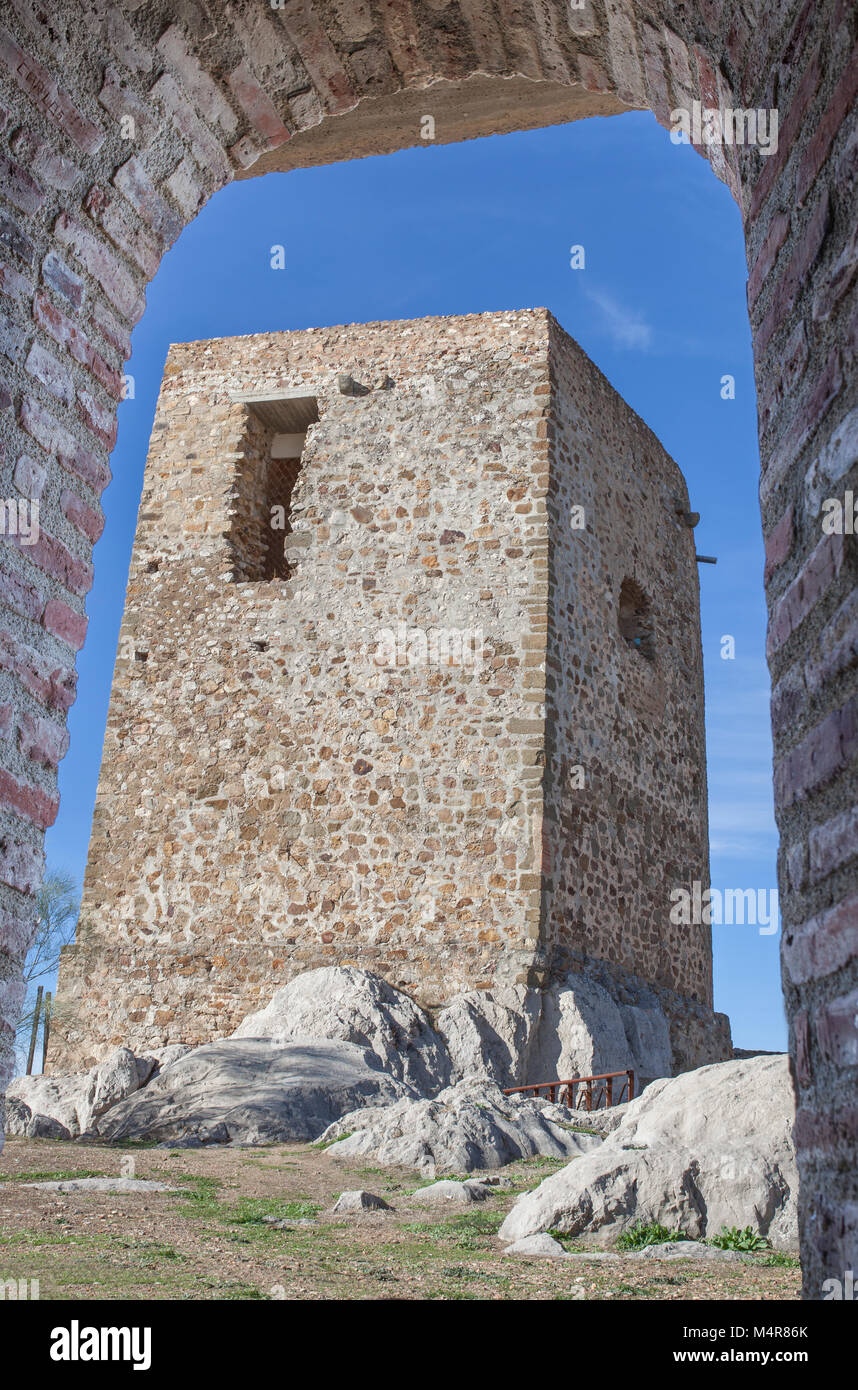Castle of Belmez Tower of homage, Cordoba, Spain. Situated on the high rocky hill overlooking town of Belmez - Stock Image
