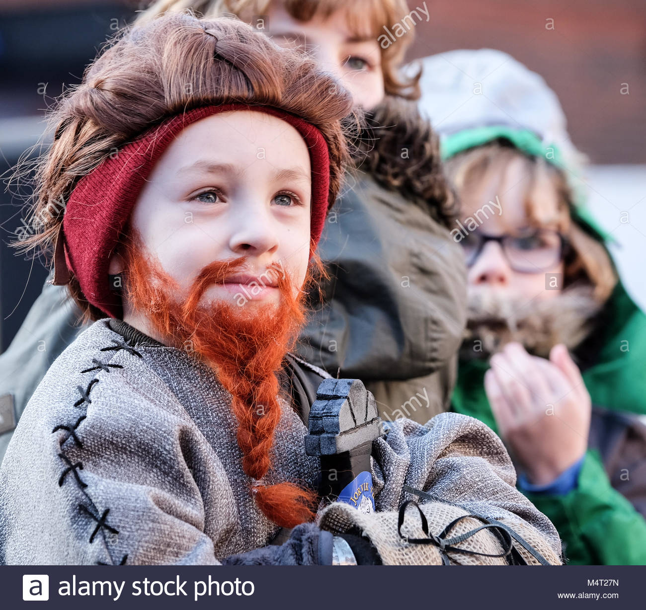 A competitor in the best beard competition at Yorvik Viking Festival. Credit: Alternative Occasions/Alamy Live News - Stock Image
