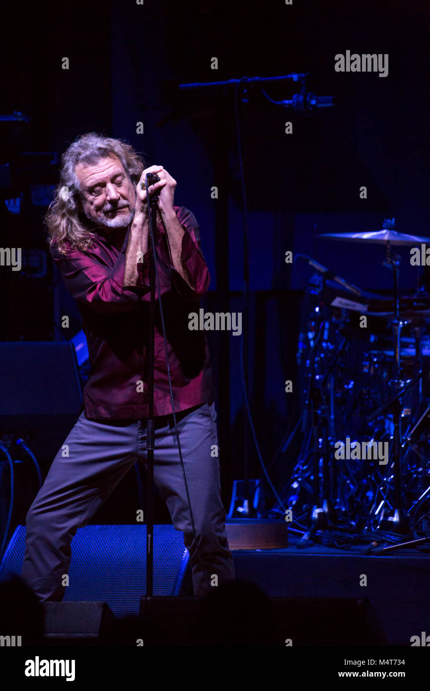 Toronto, CANADA. 17th Feb, 2018. Robert Plant performs with The Sensational Space Shifters at Massey Hall in Toronto. - Stock Image