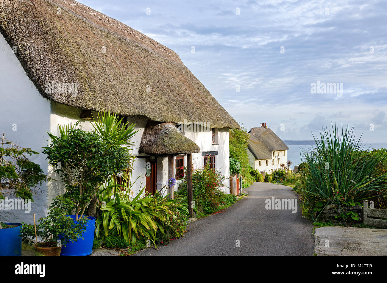 thatched cottages near church cove on the lizard peninsular in cornwall, england, britain, uk. - Stock Image