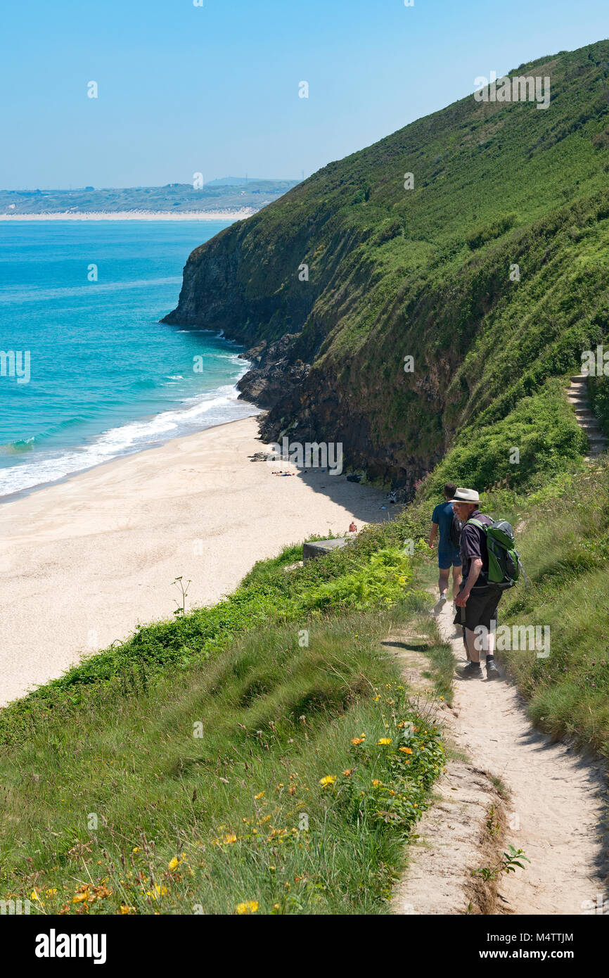 the southwest coast path near carbis bay, st.ives, cornwall, england, britain, uk. - Stock Image