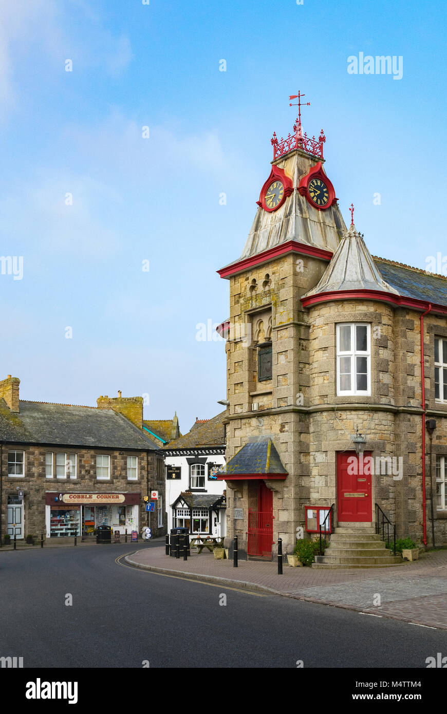 the town hall in the ancient township of marazion in cornwall, england, britain, uk. - Stock Image