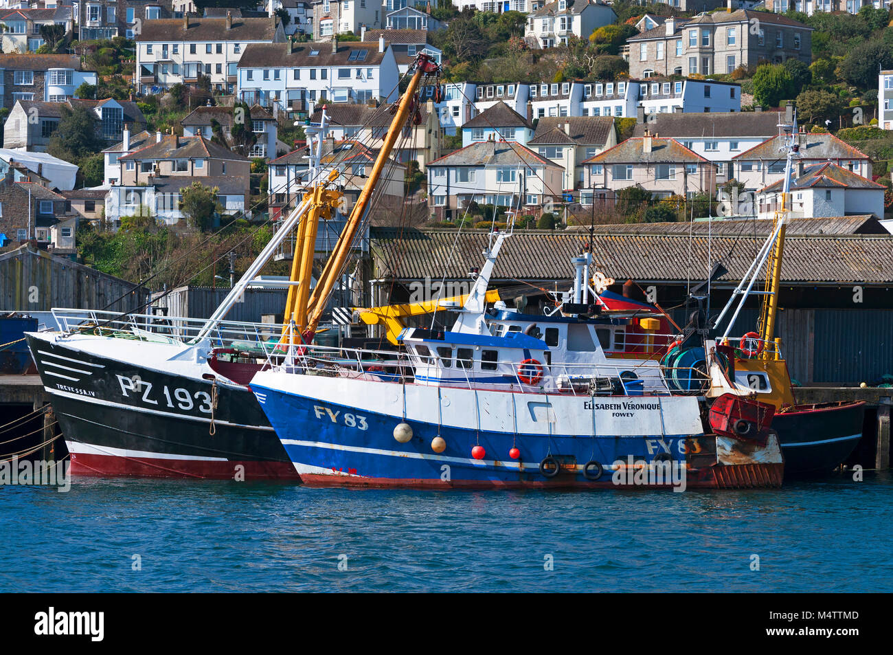cornish fishing industry trawlers in the cornish harbour port of newlyn, penzance, cornwall, england, britain, uk. - Stock Image