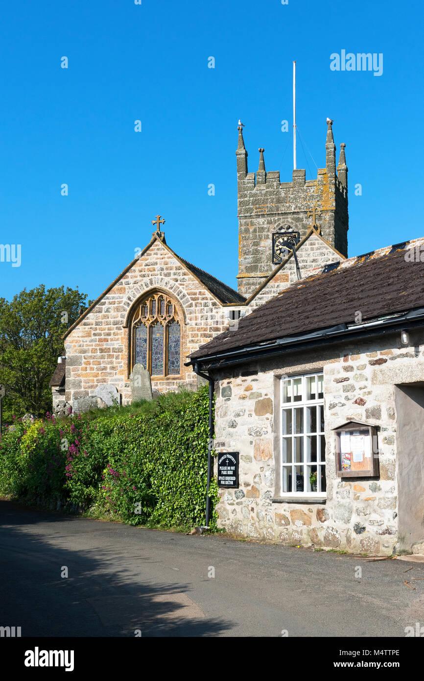 the village church in perranuthnoe, cornwall, england, britain, uk. - Stock Image