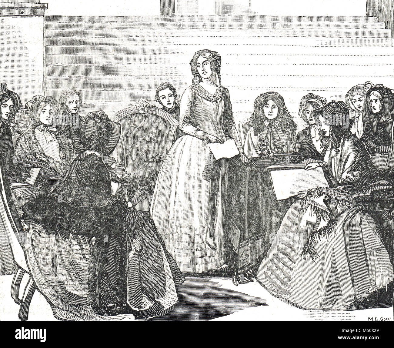 Meeting of the Ladies committee in aid of the Great exhibition of 1851 at Stafford house - Stock Image