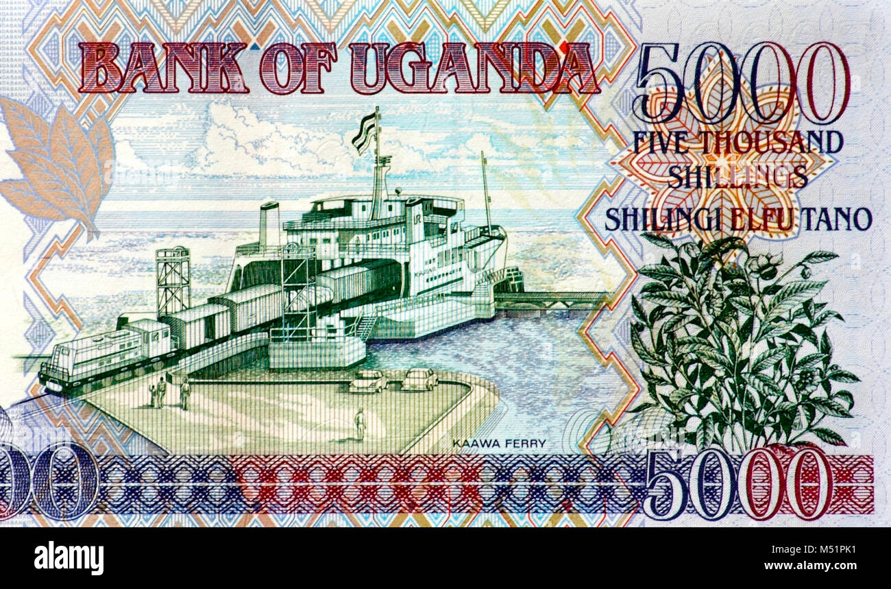 Uganda Five Thousand 5000 Shilling Bank Note - Stock Image