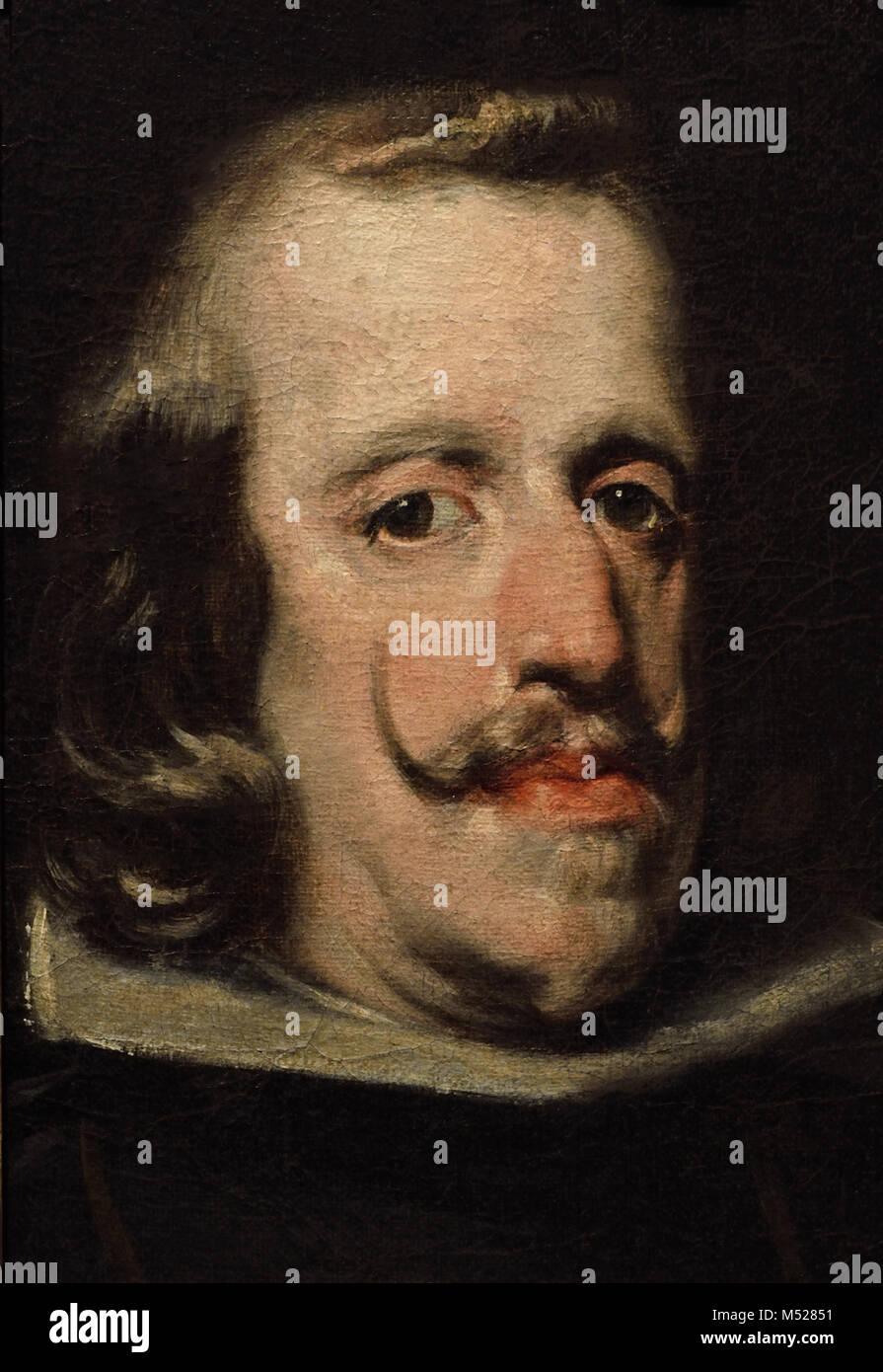 Retrato del Rey Felipe IV de España  - Portrait of King Philip IV of Spain 1655  Círculo de Diego Velázquez - Stock Image