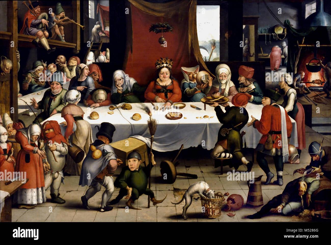Burlesque Feast 1550 by Jan Mandijn (or Mandy) .1550, 16th, century, Belgian, Belgium, Flemish, - Stock Image