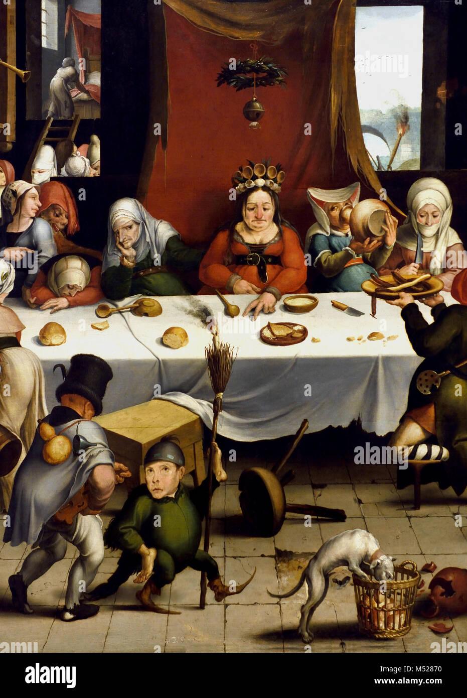 Burlesque Feast 1550 by Jan Mandijn (or Mandy) .1550, 16th, century, Belgian, Belgium, Flemish, (detail) - Stock Image