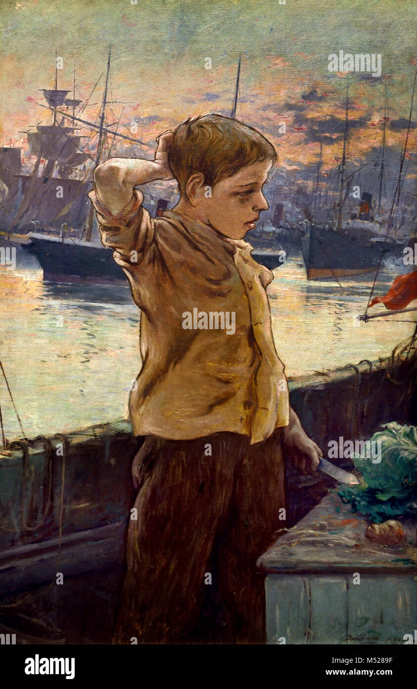 El Cho ( The Ship Boy ) 1887 Adolfo Guiard (1860 – 1916) was a Basque painter in the Impressionist style,  20th, - Stock Image