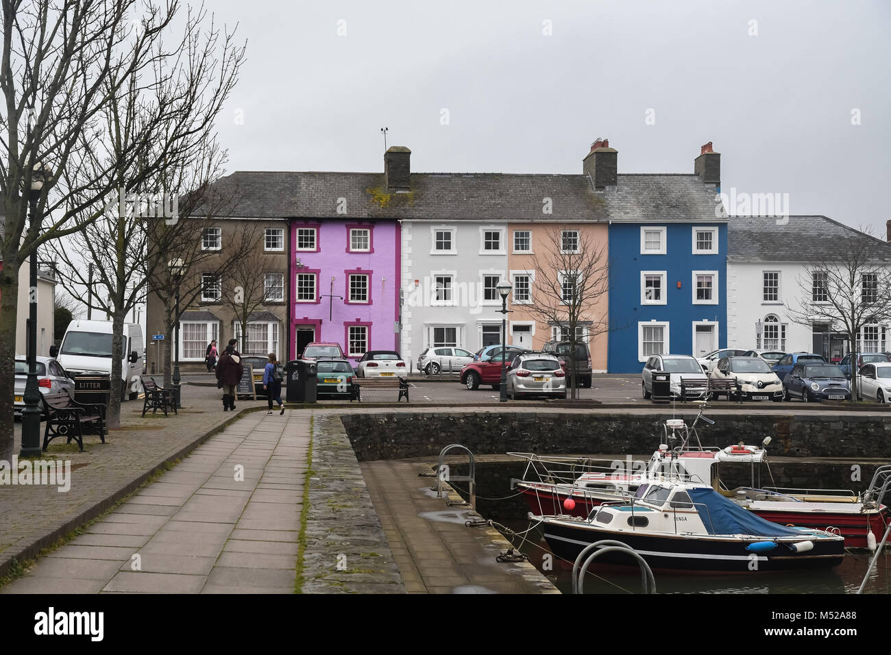 Aberaeron  twon west Wales on a overcast day in February. - Stock Image