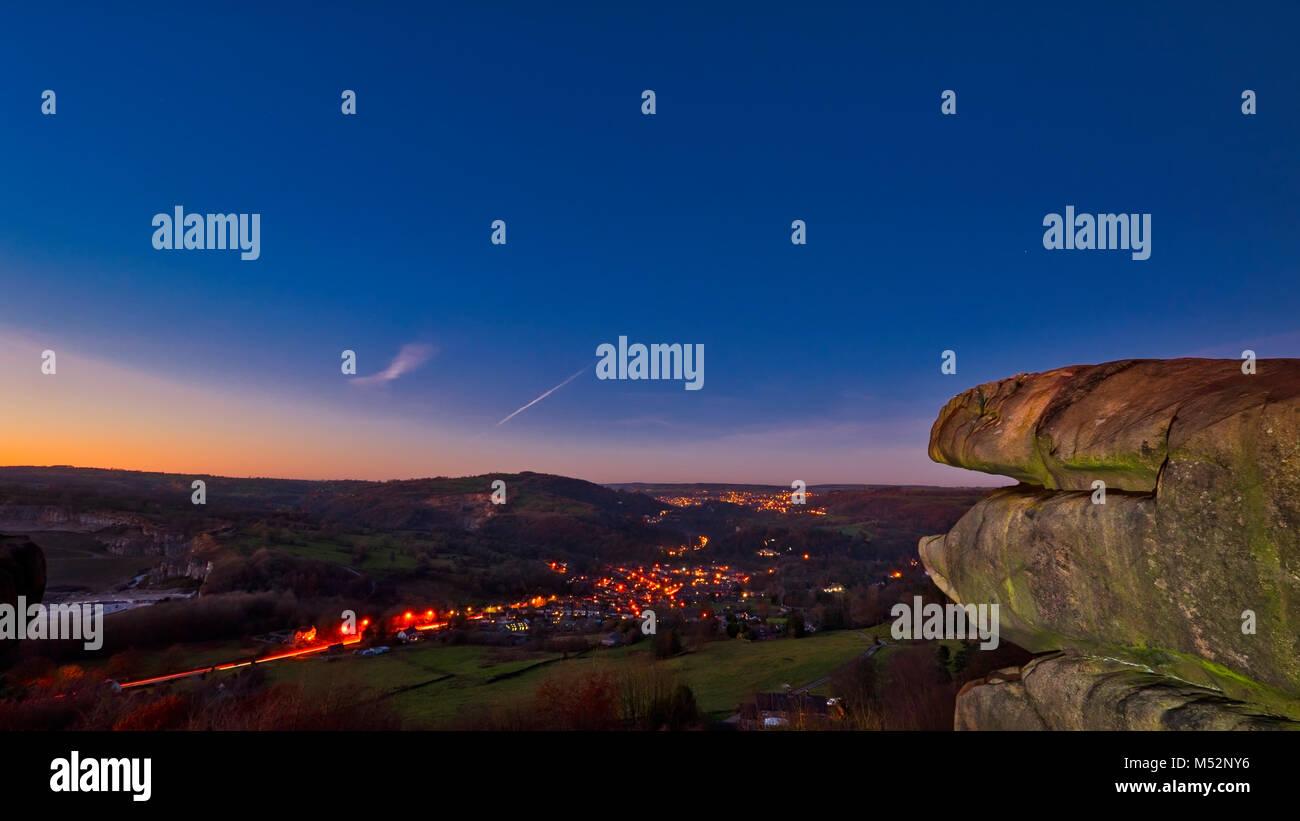 sunset at Black Rocks overlooking Cromford Village & the town of Matlock & Matlock Bath, Derbyshire Dales, - Stock Image