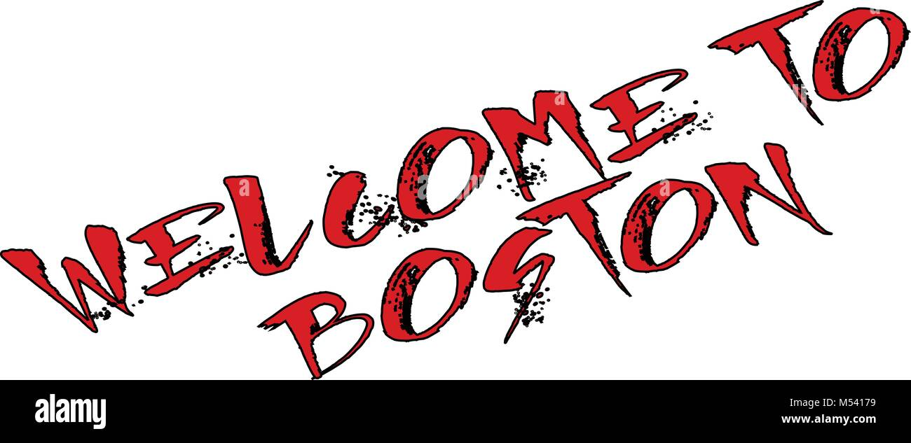 Welcome to Boston text sign on white background - Stock Image