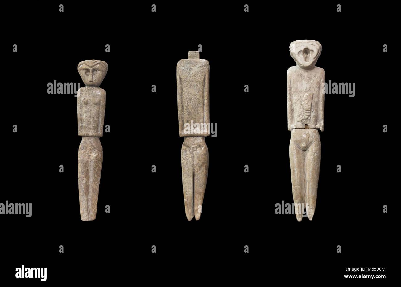 Jaen, Spain - December 29th, 2017: Anthropomorphous idols of Marroquies Bajos site. Representation of deities made - Stock Image