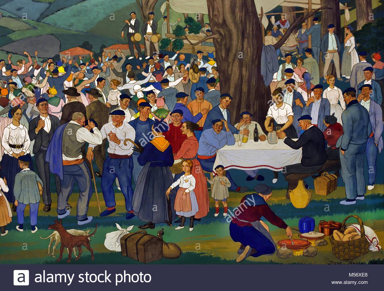 Local Fiesta 1926 Jose Arrue, 1885-1977, 20th century, Bilbao, Spanish,Spain. - Stock Image