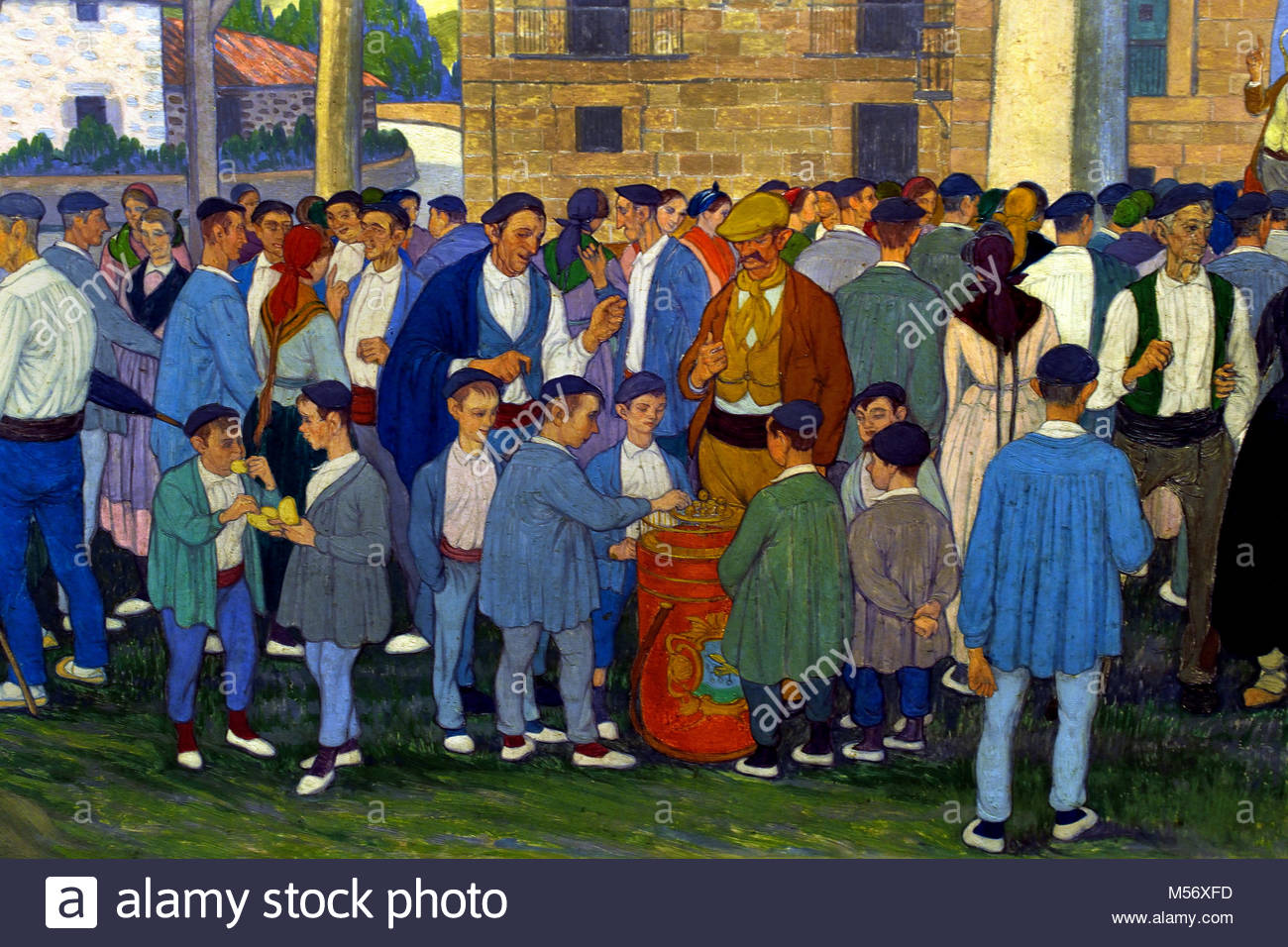 Village Festival in the Square 1922 Jose Arrue, 1885-1977, 20th century, Bilbao, Spanish,Spain. - Stock Image