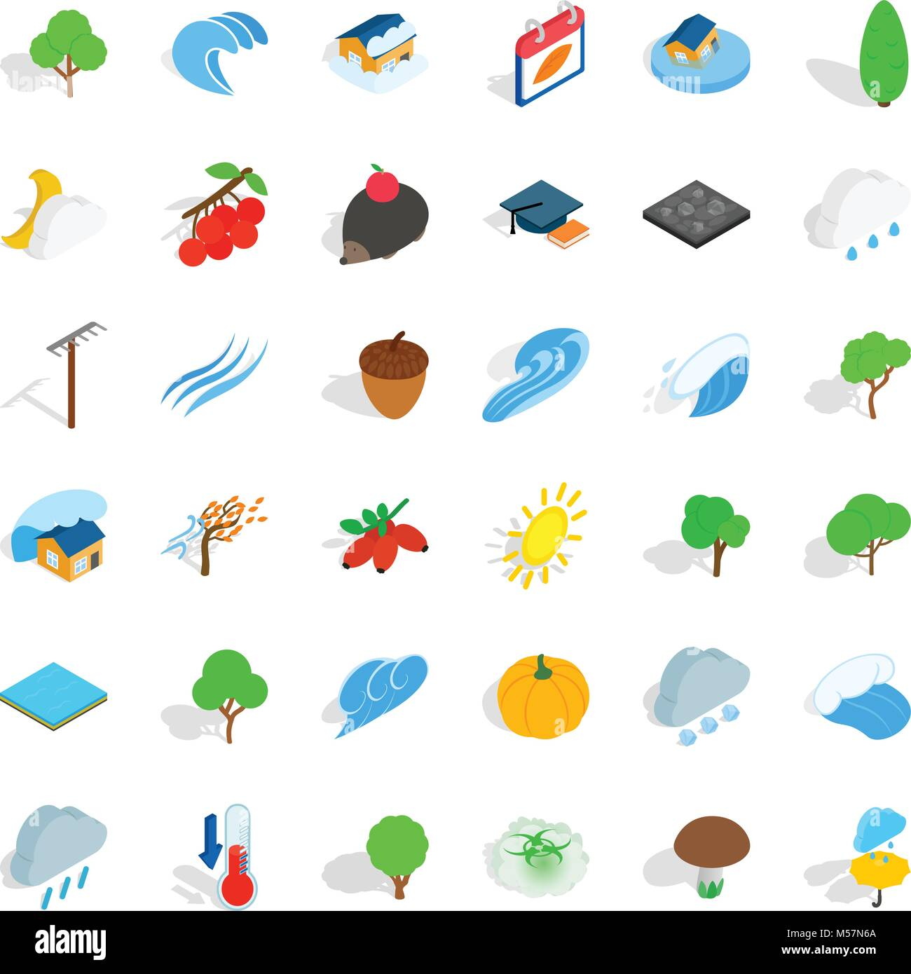 Earthly icons set, isometric style - Stock Image