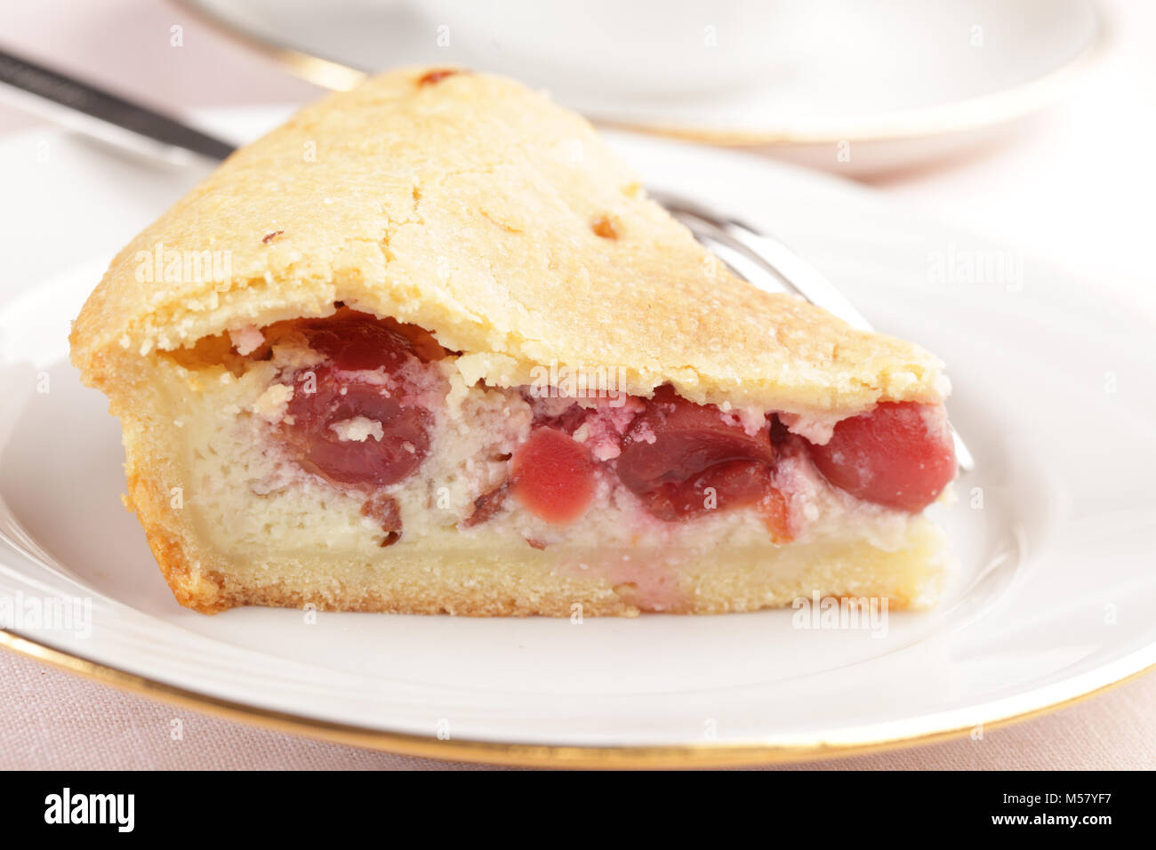 Basque cherry cake on a plate closeup - Stock Image