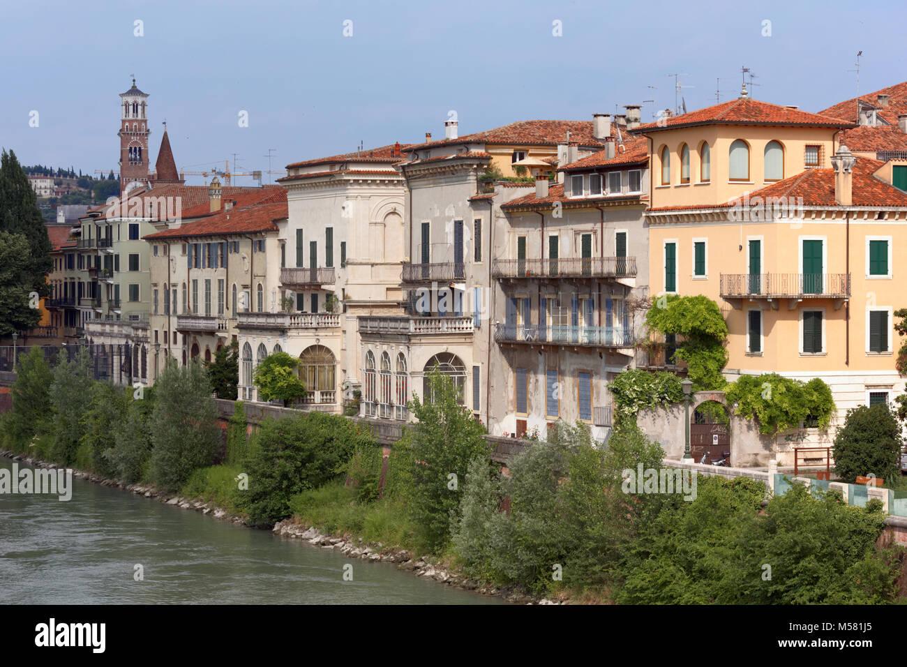 Embankment of Adige river in Verona, Italy - Stock Image