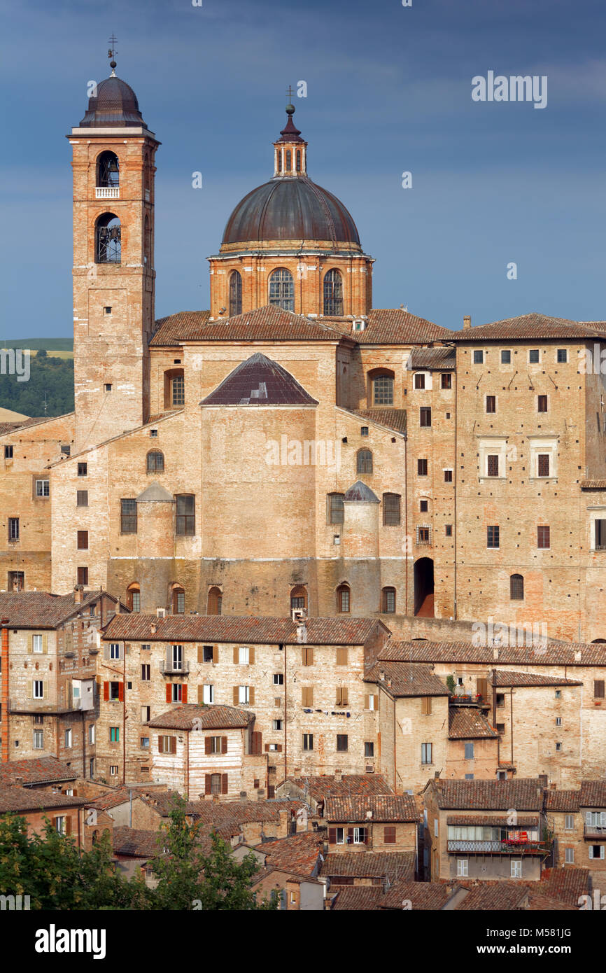 View to the old town of Urbino, Italy. The historical part of the city is listed as UNESCO World Heritage - Stock Image