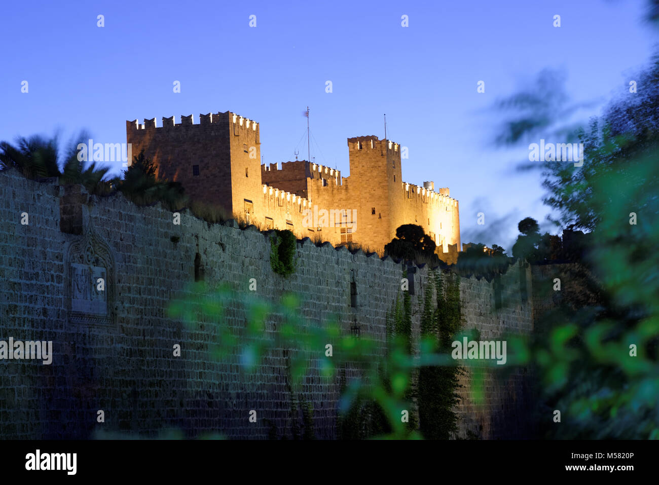 Night view to the Palace of the Grand Master of the Knights of Rhodes, Greece - Stock Image