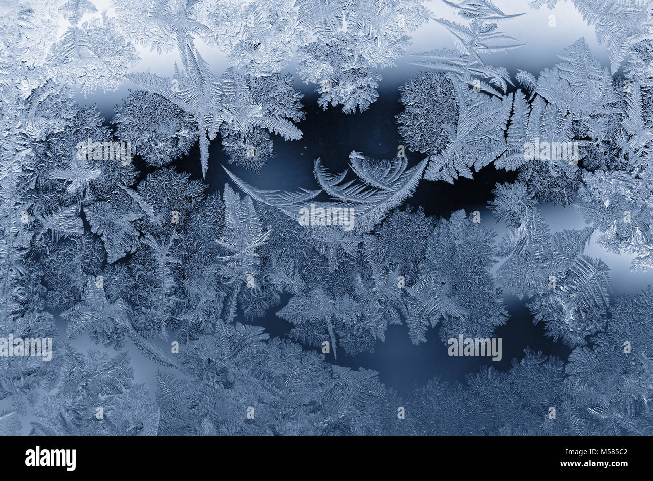 Frost pattern as Christmas background - Stock Image