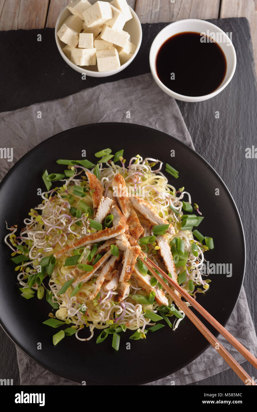 Noodles with grilled chicken, vegetables, tofu, and soy sauce - Stock Image