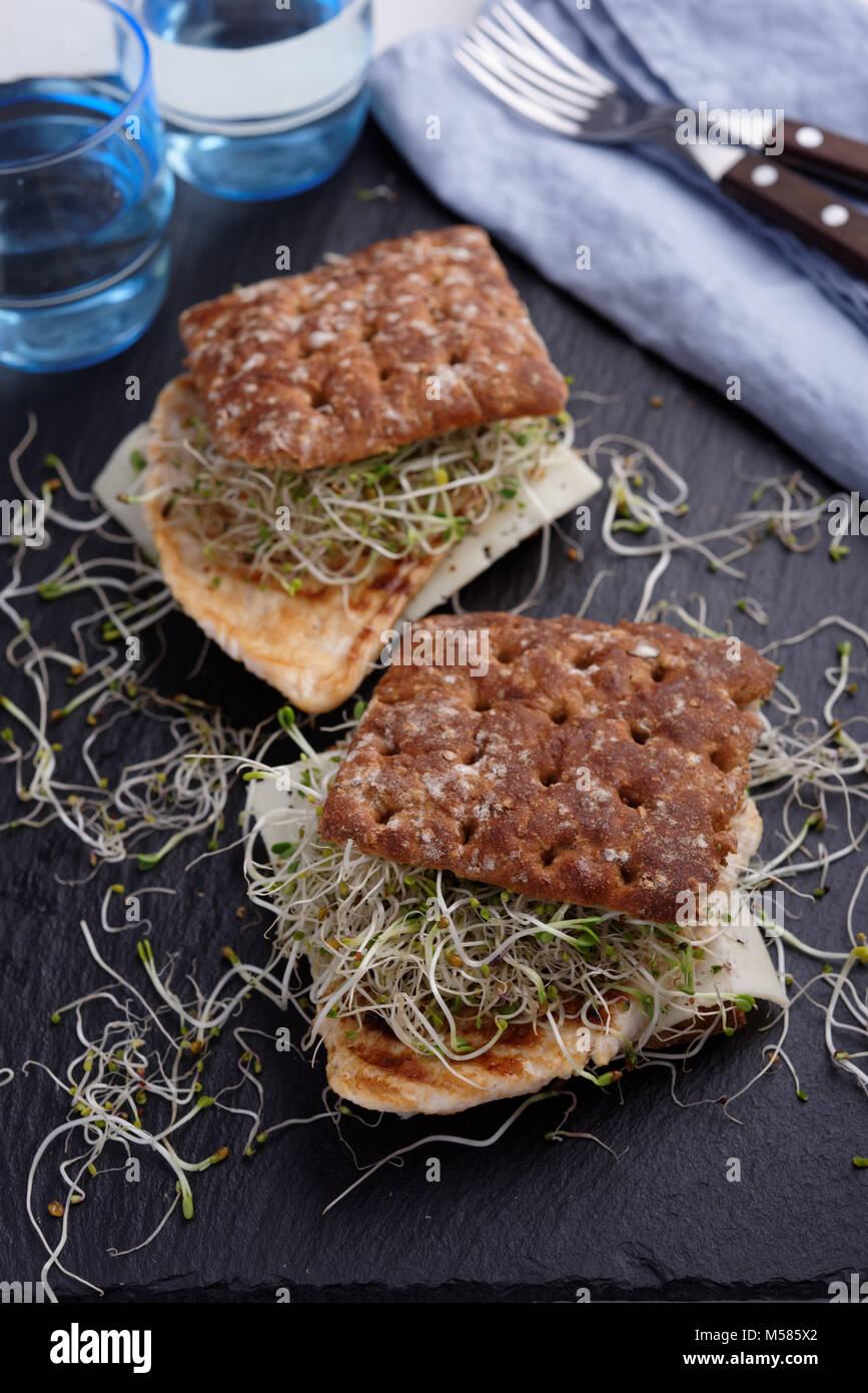Two sandwiches with grilled turkey meat, slice of cheese, and leek sprouts on a slate cutting board - Stock Image
