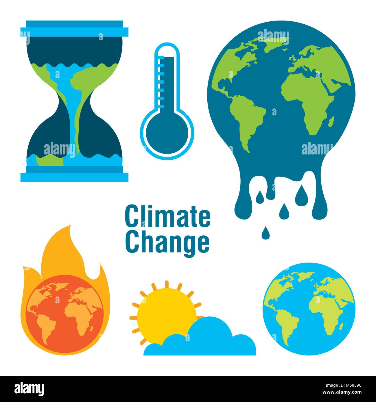 climate change temperature planet world fire melted time - Stock Image