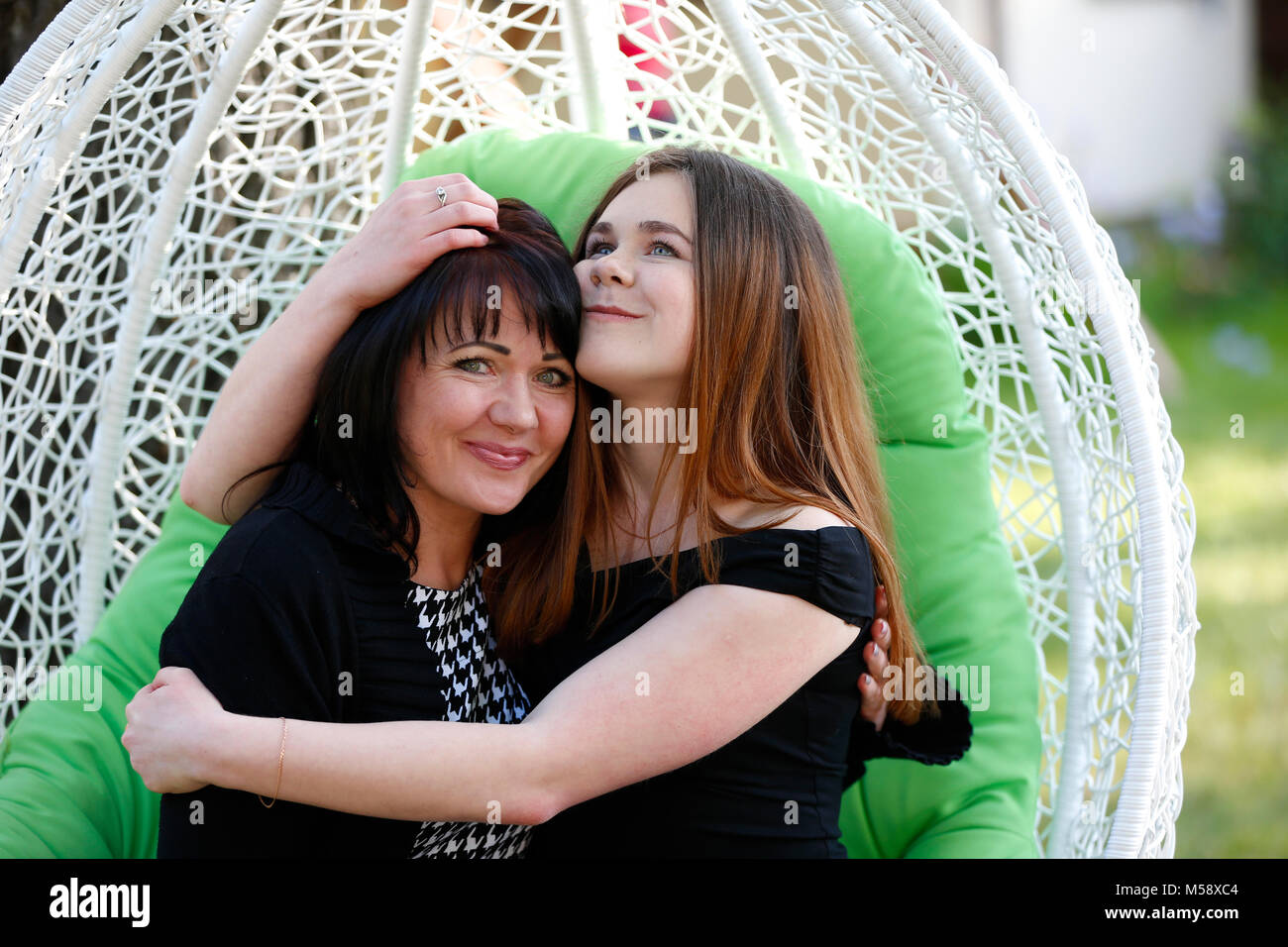 Belarus, the city of Gomel, June 15, 2017. Chabarok restaurant, birthday celebration project new style. Adult daughter - Stock Image