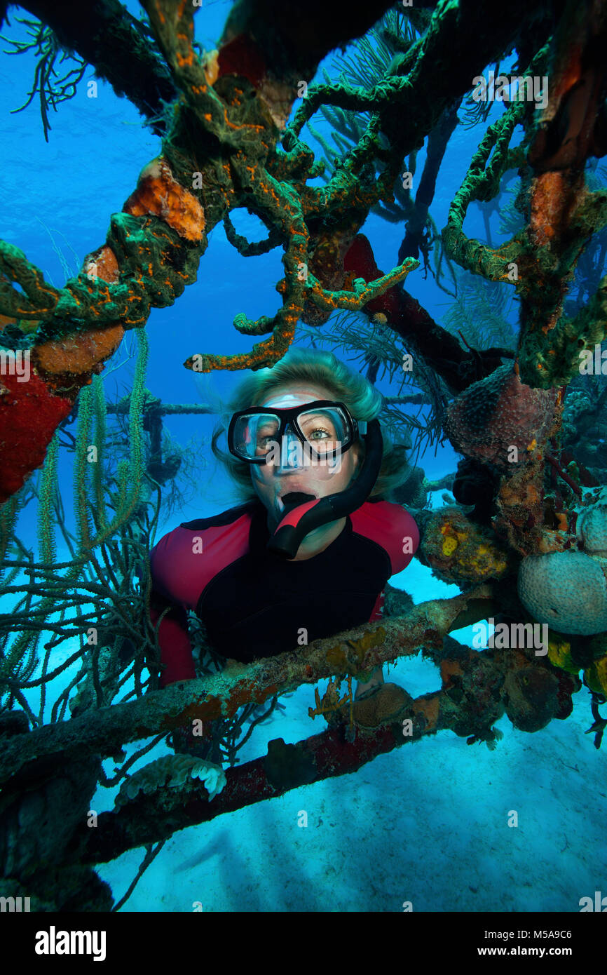 Snorkeler framed by the struts of a wreck of a plane on the seabed. - Stock Image