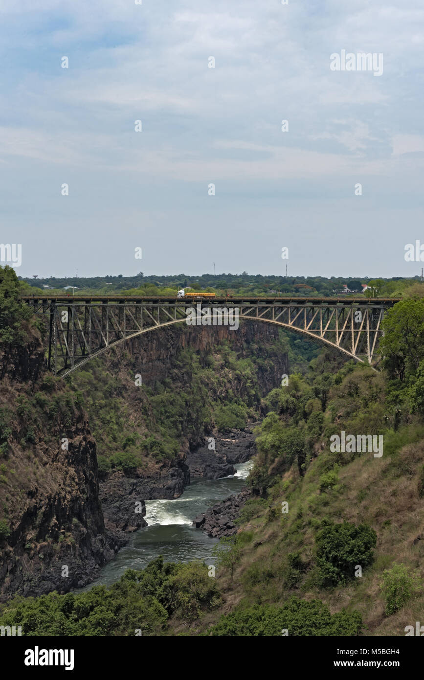 Big bridge at the victoria falls between zambia and zimbabwe - Stock Image