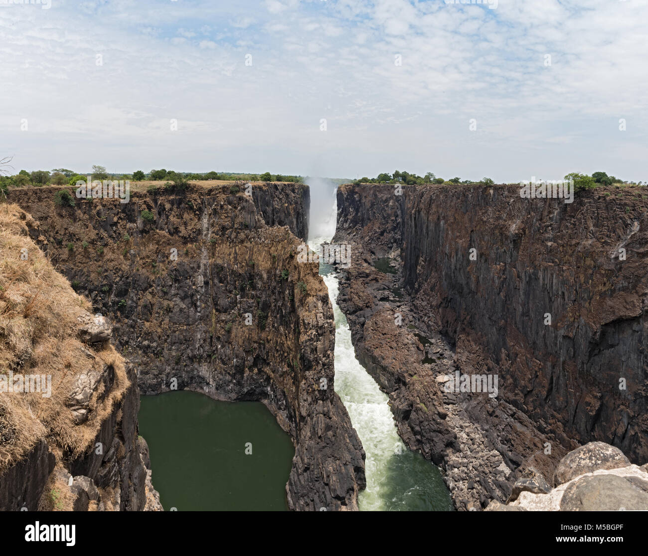 The Victoria Falls in Zambia, Zimbabwe at the end of the dry season - Stock Image
