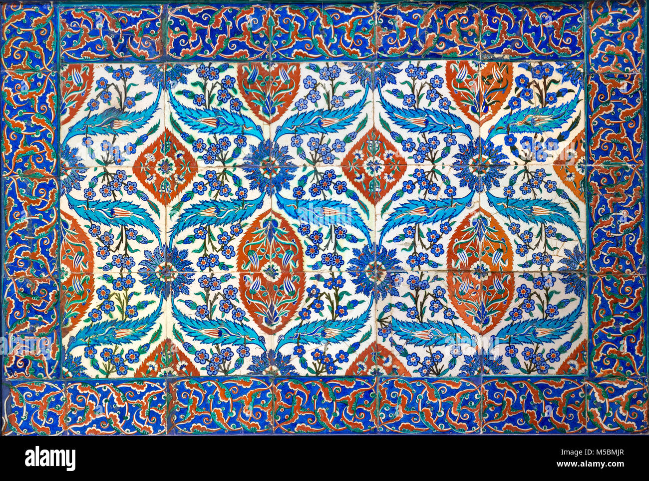 Ottoman era style glazed ceramic tiles from Iznik (Turkey) decorated with floral ornamentations, From the Museum - Stock Image