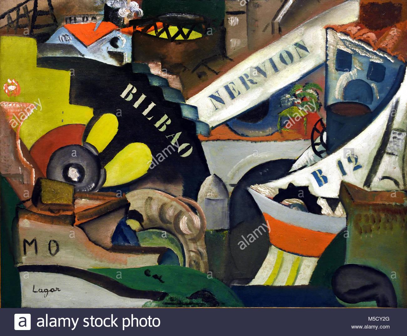 The Port of Bilbao 1917 Celso Lagar ( 1811-1988 Seville) 20th, century, Spain, Spanish, - Stock Image
