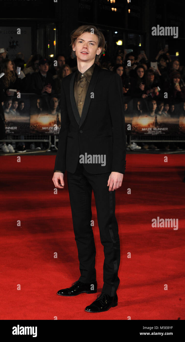 Screening of The Maze Runner: The Death Cure at Vue Cinema in Leicester Square - Arrivals  Featuring: Thomas Brodie - Stock Image