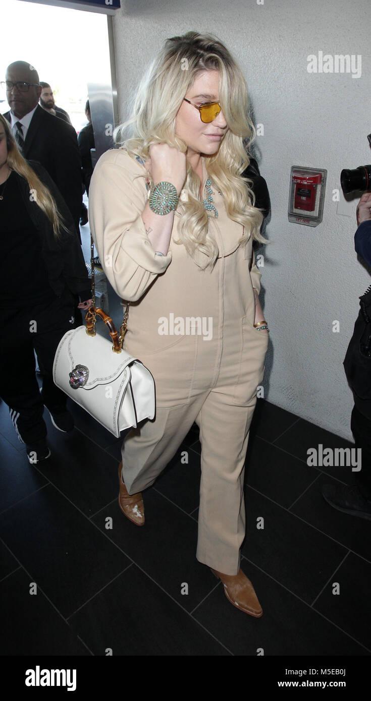 Kesha departs from Los Angeles International Airport (LAX)  Featuring: Kesha Where: Los Angeles, California, United - Stock Image