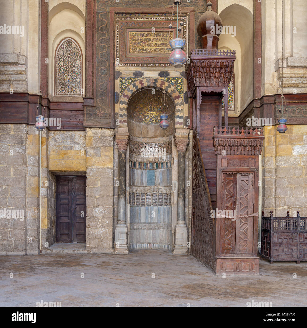 Niche (Mihrab) and pulpit (Minbar) of Mosque of Sultan Qalawun, Moez Street, Cairo, Egypt - Stock Image