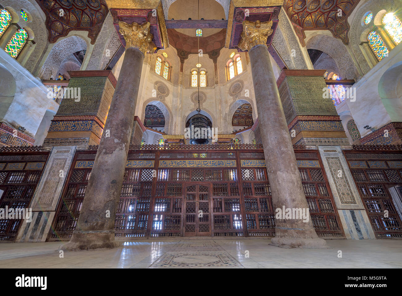 Interior view of   the mausoleum of Sultan Qalawun, part of Sultan Qalawun Complex built in 1285 AD, located in - Stock Image