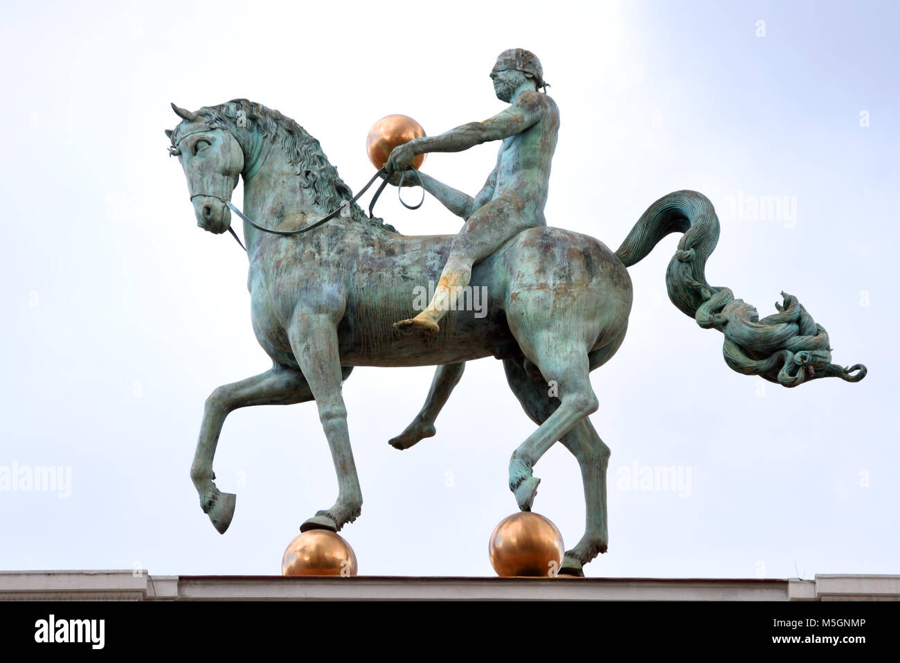Equestrian statue atop the Ayuntamiento (City Hall) building in Plaza del Carmen, City of Granada, Province of Granada - Stock Image