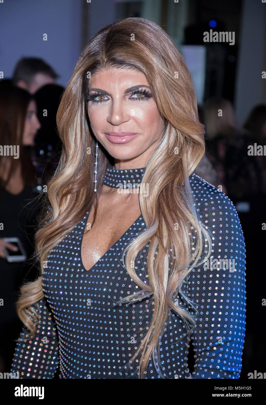 New York, USA. 22nd Feb, 2018. Teresa Giudice attends WE TV Launches Bridezillas Museum Of Natural Hysteria at Arena, - Stock Image
