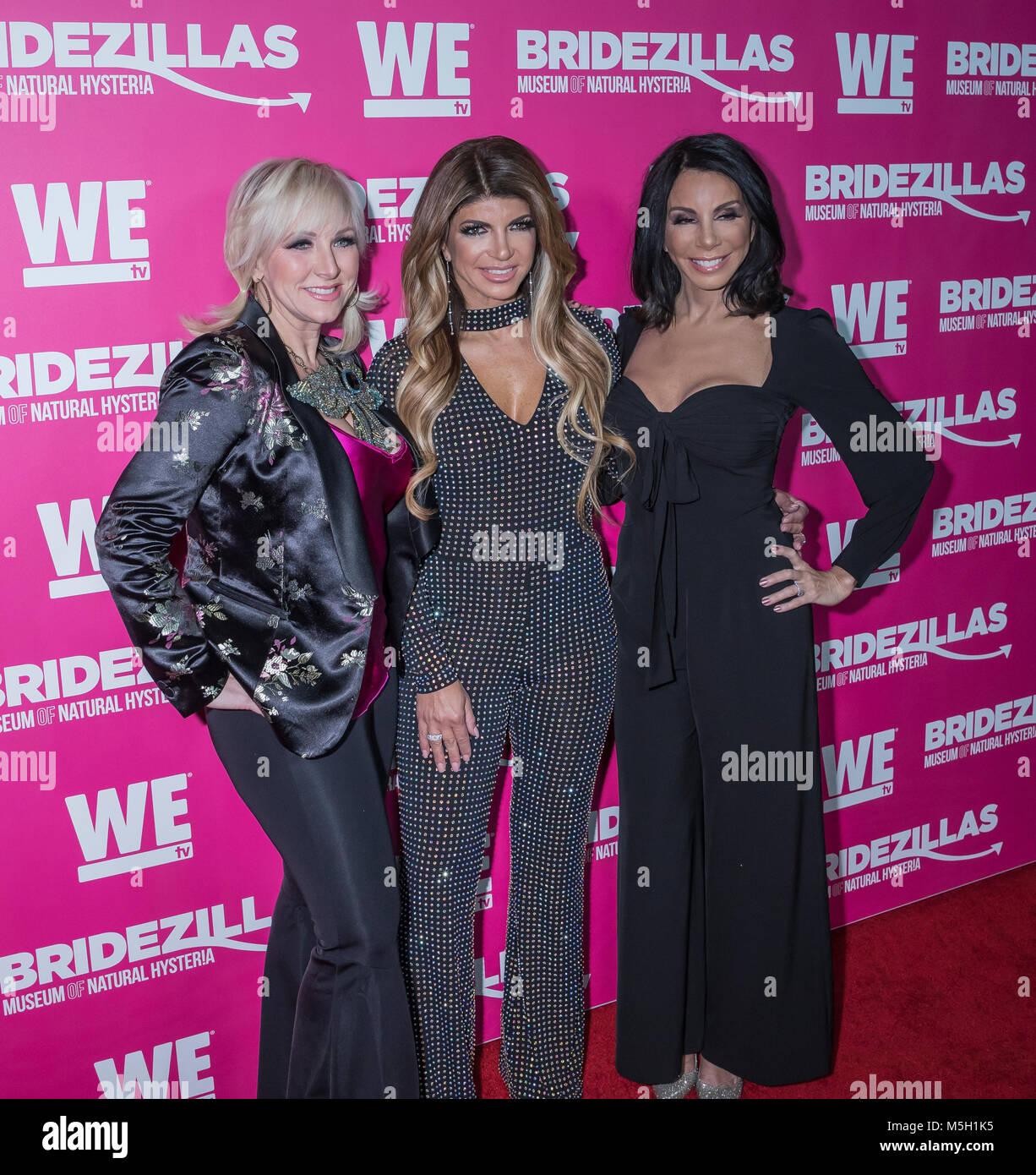 New York, USA. 22nd Feb, 2018. Margaret Josephs, Teresa Giudice, Danielle Staub attend WE TV Launches Bridezillas - Stock Image