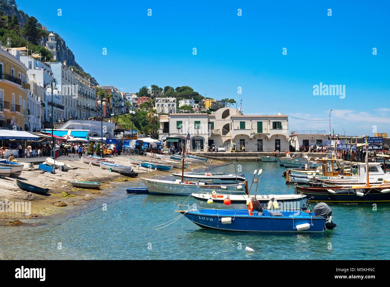 fishing boats at marina grande on the island of capri, italy - Stock Image