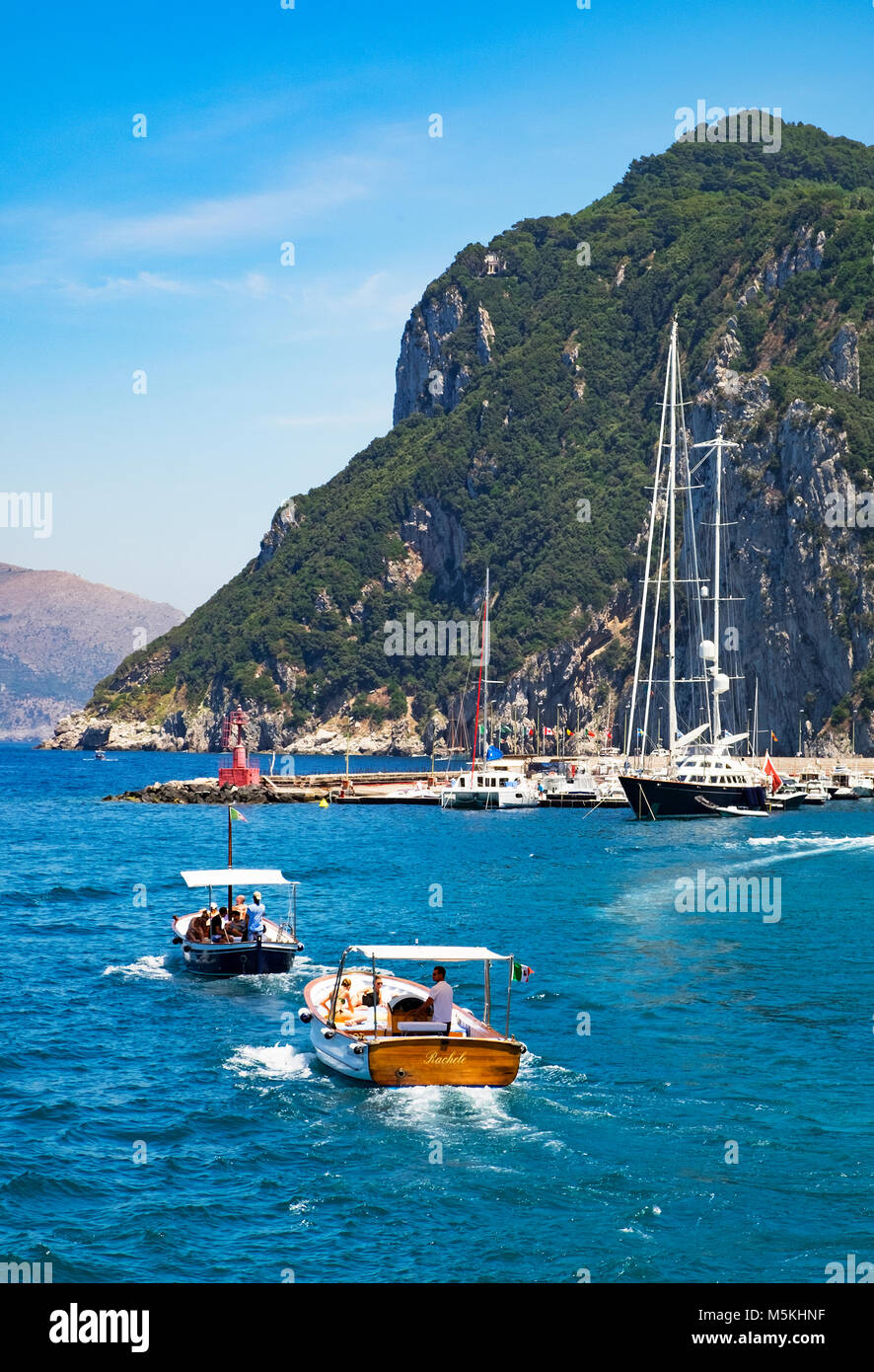 sailing around the island of capri, italy. - Stock Image